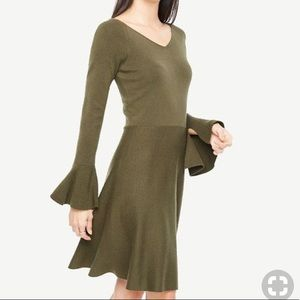 🔥Ann Taylor • Fit and Flare Olive Green Dress